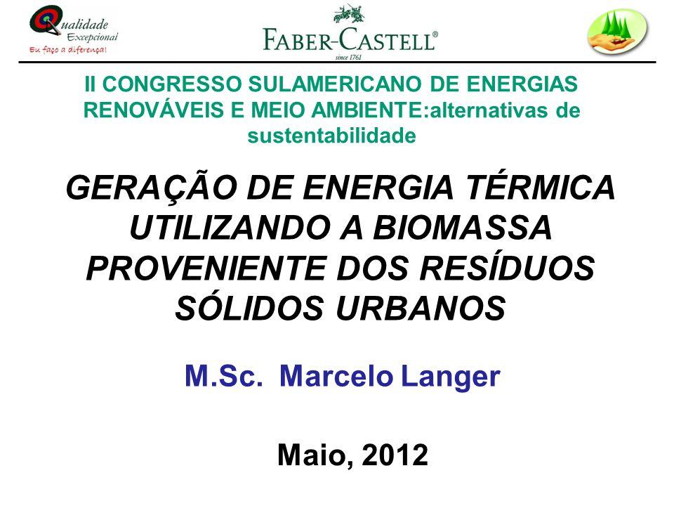 GERAÇÃO DE ENERGIA TÉRMICA UTILIZANDO A BIOMASSA PROVENIENTE DOS RESÍDUOS SÓLIDOS URBANOS M.Sc. Marcelo Langer Maio, 2012 II CONGRESSO SULAMERICANO DE