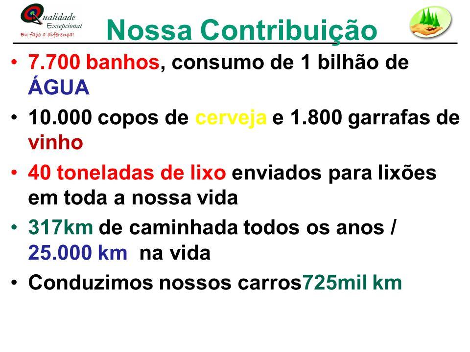 Nossa Contribuição 7.700 banhos, consumo de 1 bilhão de ÁGUA 10.000 copos de cerveja e 1.800 garrafas de vinho 40 toneladas de lixo enviados para lixõ
