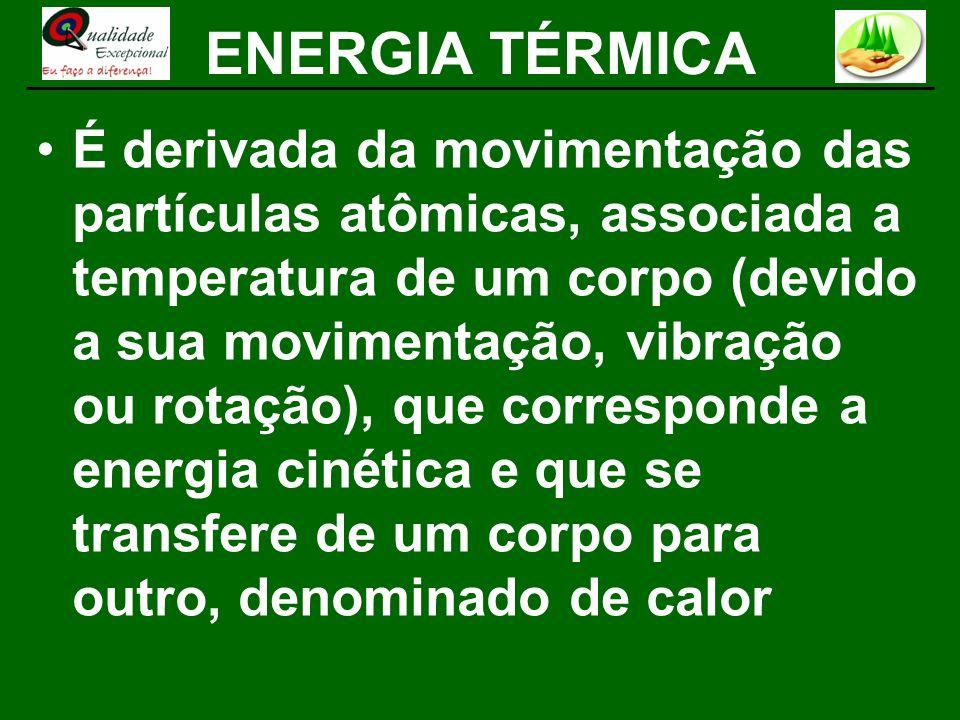 ENERGIA TÉRMICA É derivada da movimentação das partículas atômicas, associada a temperatura de um corpo (devido a sua movimentação, vibração ou rotaçã