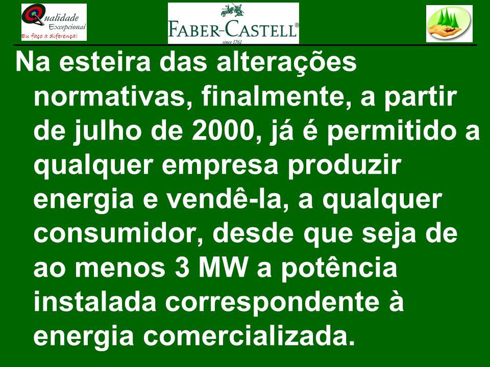Na esteira das alterações normativas, finalmente, a partir de julho de 2000, já é permitido a qualquer empresa produzir energia e vendê-la, a qualquer