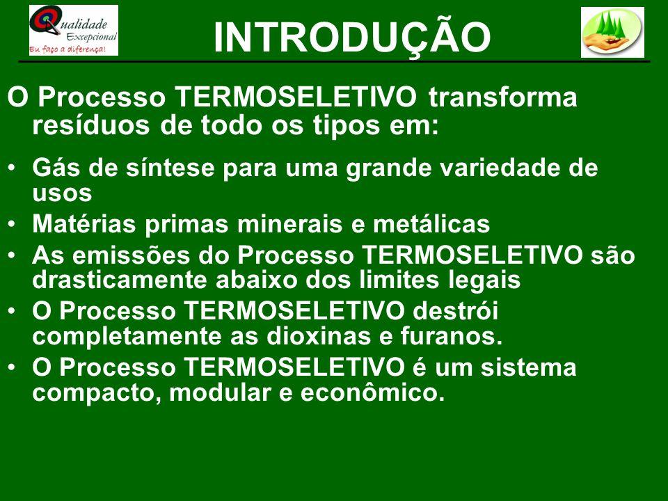 O Processo TERMOSELETIVO transforma resíduos de todo os tipos em: Gás de síntese para uma grande variedade de usos Matérias primas minerais e metálica