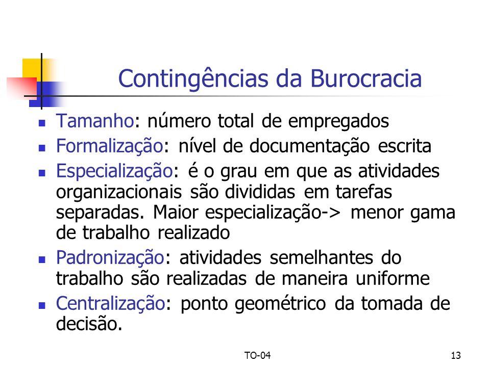 TO-0413 Contingências da Burocracia Tamanho: número total de empregados Formalização: nível de documentação escrita Especialização: é o grau em que as
