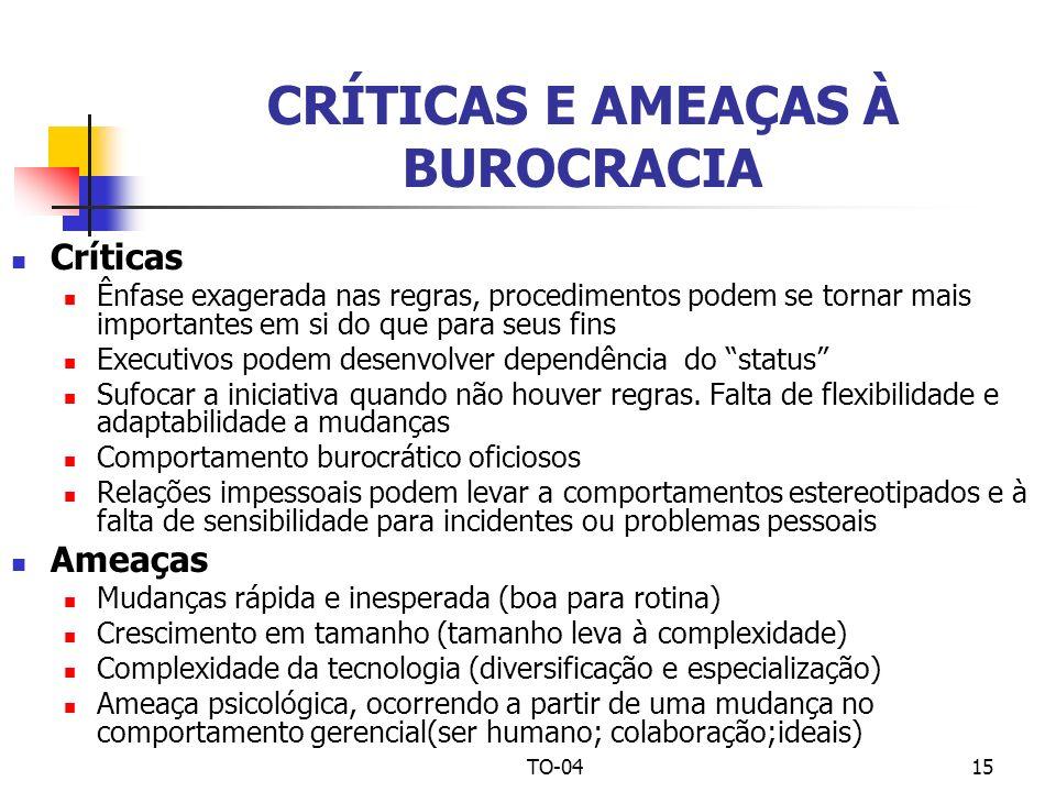 TO-0415 CRÍTICAS E AMEAÇAS À BUROCRACIA Críticas Ênfase exagerada nas regras, procedimentos podem se tornar mais importantes em si do que para seus fi