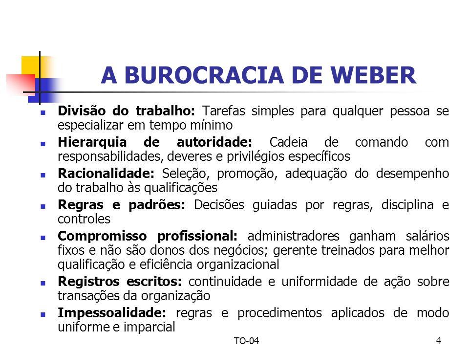 TO-044 A BUROCRACIA DE WEBER Divisão do trabalho: Tarefas simples para qualquer pessoa se especializar em tempo mínimo Hierarquia de autoridade: Cadei