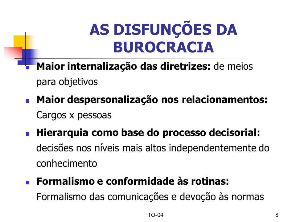 TO-048 AS DISFUNÇÕES DA BUROCRACIA Maior internalização das diretrizes: de meios para objetivos Maior despersonalização nos relacionamentos: Cargos x