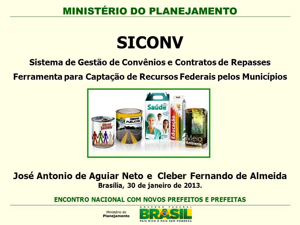 MINISTÉRIO DO PLANEJAMENTO Secretaria de Logística e Tecnologia da Informação - SLTI Infra-estrutura Saúde Agricultura Atendimento ao Cidadão Ações no SICONV