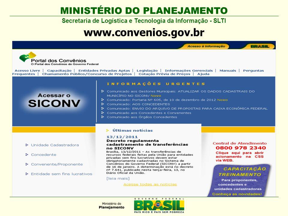 MINISTÉRIO DO PLANEJAMENTO Secretaria de Logística e Tecnologia da Informação - SLTI Consultar Programas Acesso Livre ou com Login e Senha www.convenios.gov.br