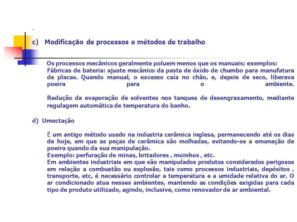 . c) Modificação de processos e métodos de trabalho Os processos mecânicos geralmente poluem menos que os manuais; exemplos: Fábricas de bateria: ajus