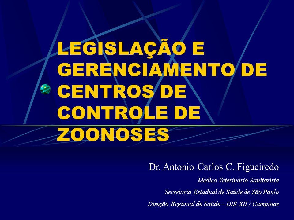 LEGISLAÇÃO E GERENCIAMENTO DE CENTROS DE CONTROLE DE ZOONOSES Dr. Antonio Carlos C. Figueiredo Médico Veterinário Sanitarista Secretaria Estadual de S