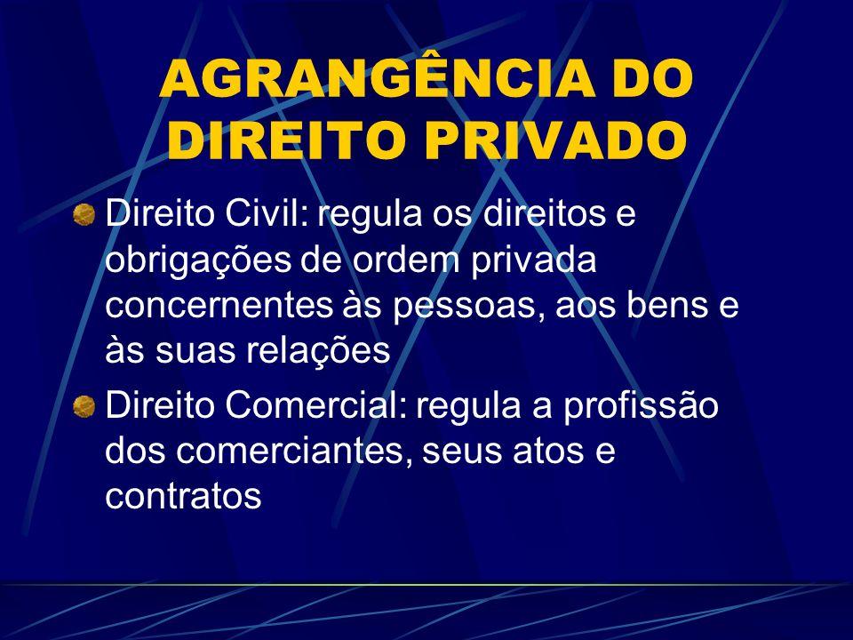 AGRANGÊNCIA DO DIREITO PRIVADO Direito Civil: regula os direitos e obrigações de ordem privada concernentes às pessoas, aos bens e às suas relações Di