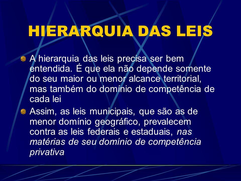 HIERARQUIA DAS LEIS A hierarquia das leis precisa ser bem entendida. É que ela não depende somente do seu maior ou menor alcance territorial, mas tamb