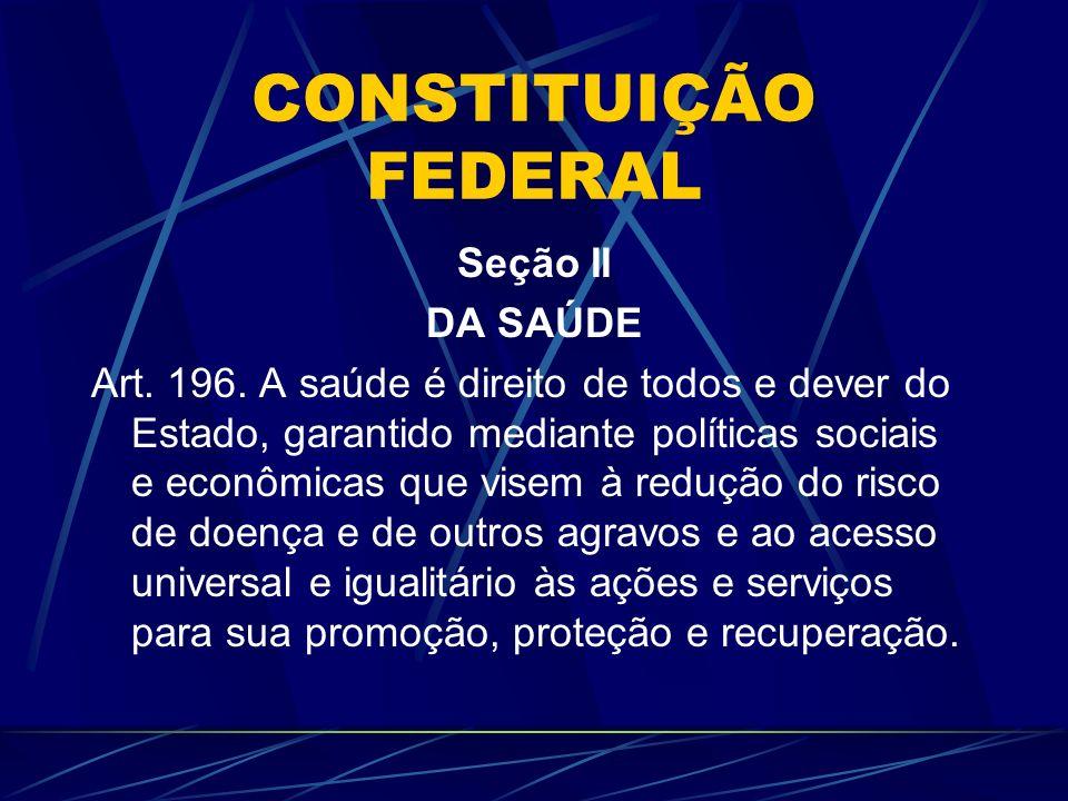 CONSTITUIÇÃO FEDERAL Seção II DA SAÚDE Art. 196. A saúde é direito de todos e dever do Estado, garantido mediante políticas sociais e econômicas que v