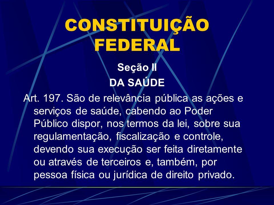 CONSTITUIÇÃO FEDERAL Seção II DA SAÚDE Art. 197. São de relevância pública as ações e serviços de saúde, cabendo ao Poder Público dispor, nos termos d