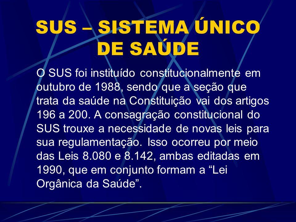 SUS – SISTEMA ÚNICO DE SAÚDE O SUS foi instituído constitucionalmente em outubro de 1988, sendo que a seção que trata da saúde na Constituição vai dos