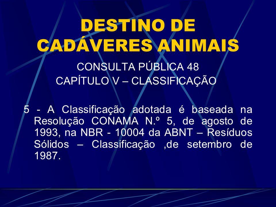 DESTINO DE CADÁVERES ANIMAIS CONSULTA PÚBLICA 48 CAPÍTULO V – CLASSIFICAÇÃO 5 - A Classificação adotada é baseada na Resolução CONAMA N.º 5, de agosto