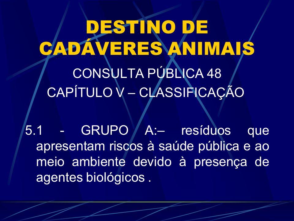 DESTINO DE CADÁVERES ANIMAIS CONSULTA PÚBLICA 48 CAPÍTULO V – CLASSIFICAÇÃO 5.1 - GRUPO A:– resíduos que apresentam riscos à saúde pública e ao meio a