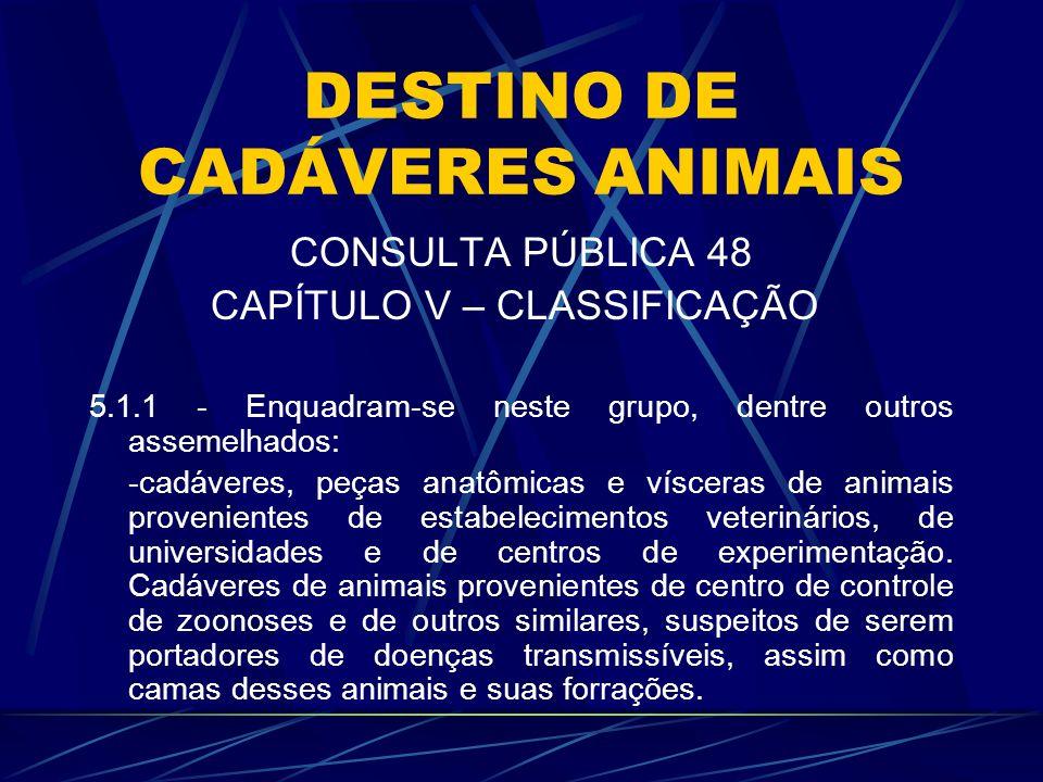 DESTINO DE CADÁVERES ANIMAIS CONSULTA PÚBLICA 48 CAPÍTULO V – CLASSIFICAÇÃO 5.1.1 - Enquadram-se neste grupo, dentre outros assemelhados: -cadáveres,