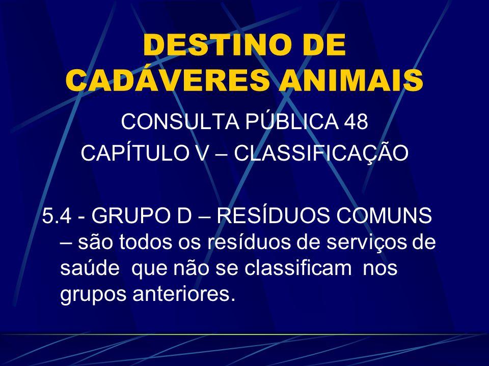 DESTINO DE CADÁVERES ANIMAIS CONSULTA PÚBLICA 48 CAPÍTULO V – CLASSIFICAÇÃO 5.4 - GRUPO D – RESÍDUOS COMUNS – são todos os resíduos de serviços de saú