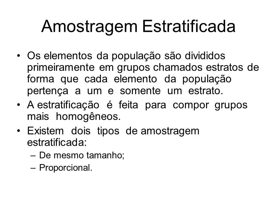 Amostragem Estratificada Os elementos da população são divididos primeiramente em grupos chamados estratos de forma que cada elemento da população per