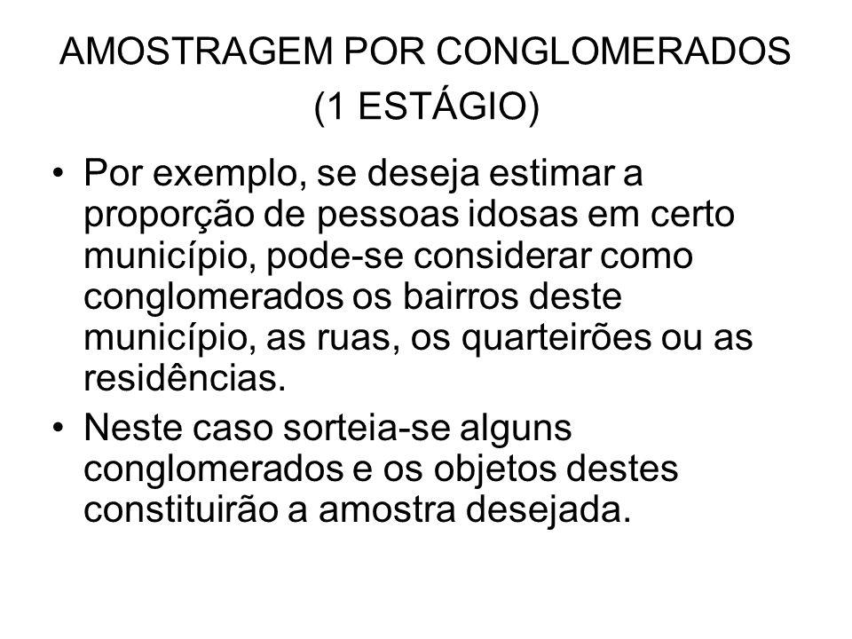 AMOSTRAGEM POR CONGLOMERADOS (1 ESTÁGIO) Por exemplo, se deseja estimar a proporção de pessoas idosas em certo município, pode-se considerar como cong