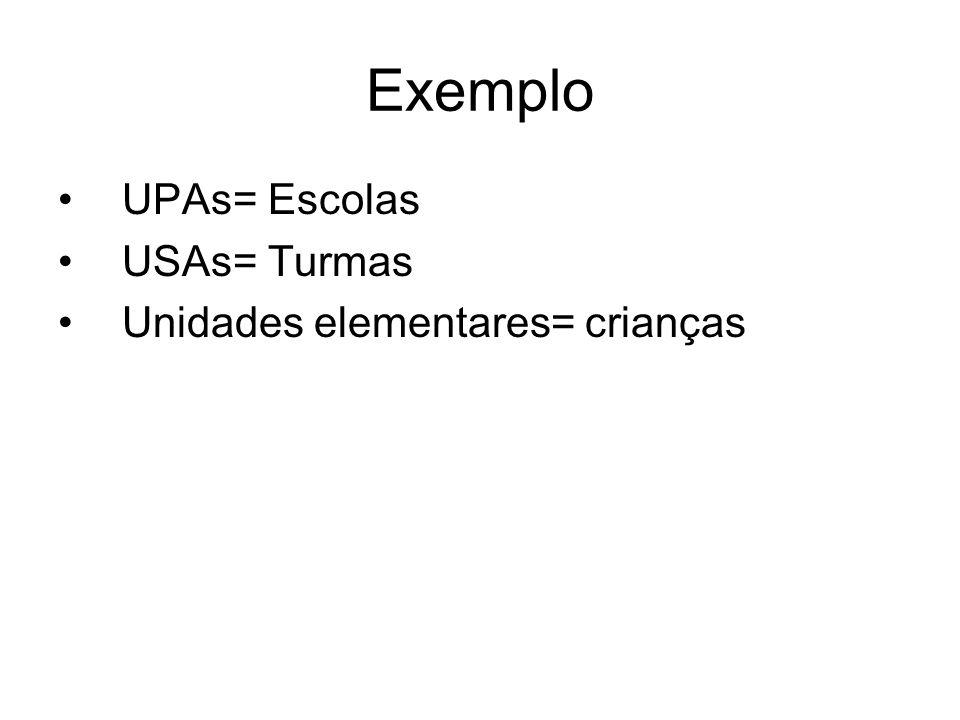 Exemplo UPAs= Escolas USAs= Turmas Unidades elementares= crianças