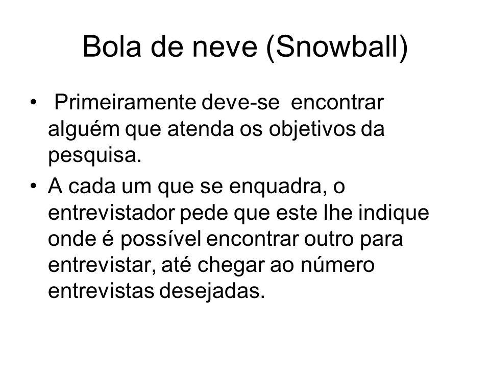 Bola de neve (Snowball) Primeiramente deve-se encontrar alguém que atenda os objetivos da pesquisa. A cada um que se enquadra, o entrevistador pede qu