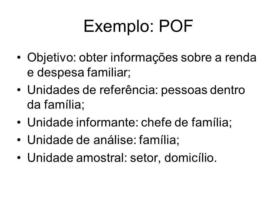 Exemplo: POF Objetivo: obter informações sobre a renda e despesa familiar; Unidades de referência: pessoas dentro da família; Unidade informante: chef
