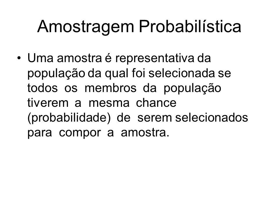 Amostragem Probabilística Uma amostra é representativa da população da qual foi selecionada se todos os membros da população tiverem a mesma chance (p