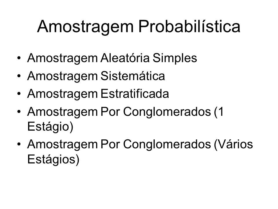 Amostragem Probabilística Amostragem Aleatória Simples Amostragem Sistemática Amostragem Estratificada Amostragem Por Conglomerados (1 Estágio) Amostr