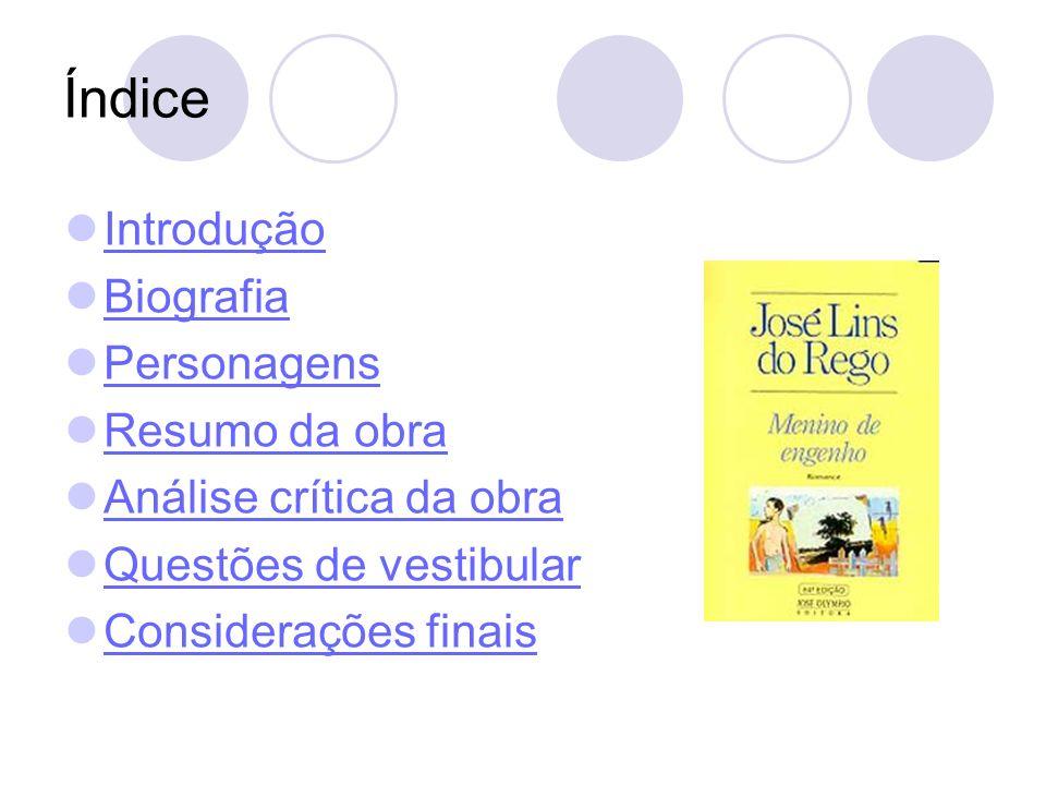 Biografia José Lins do Rego Nascimento 3 de julho de 1901 Pilar, Brasil Falecimento 12 de dezembro de 1957 Rio de Janeiro, Brasil Movimento literário Modernismo (Segunda Geração) Magnum opus Fogo Morto