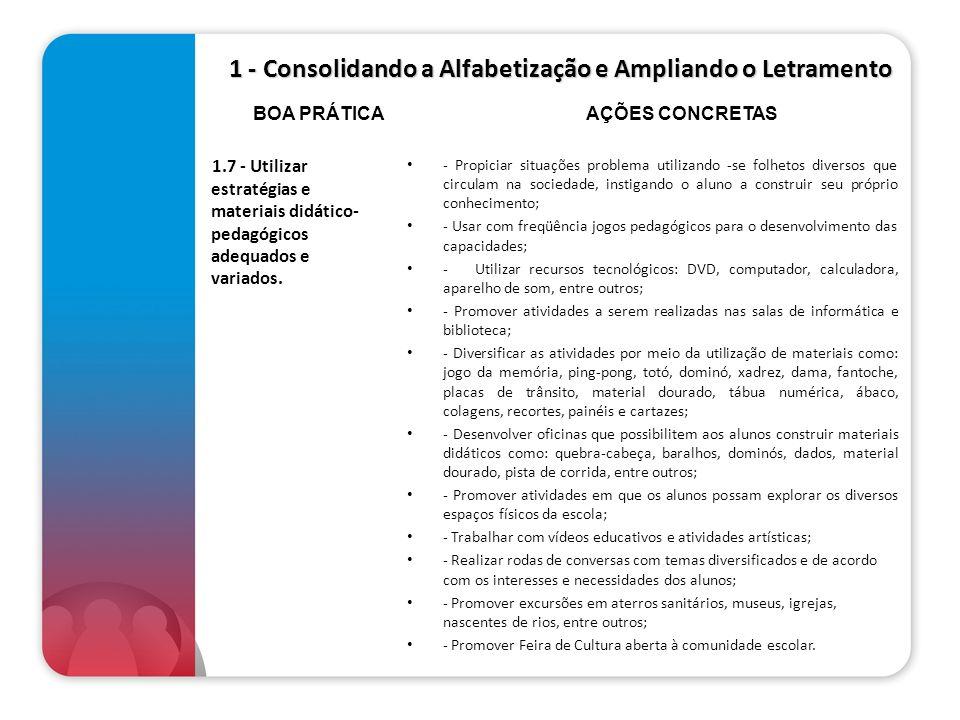1 - Consolidando a Alfabetização e Ampliando o Letramento 1.7 - Utilizar estratégias e materiais didático- pedagógicos adequados e variados. - Propici