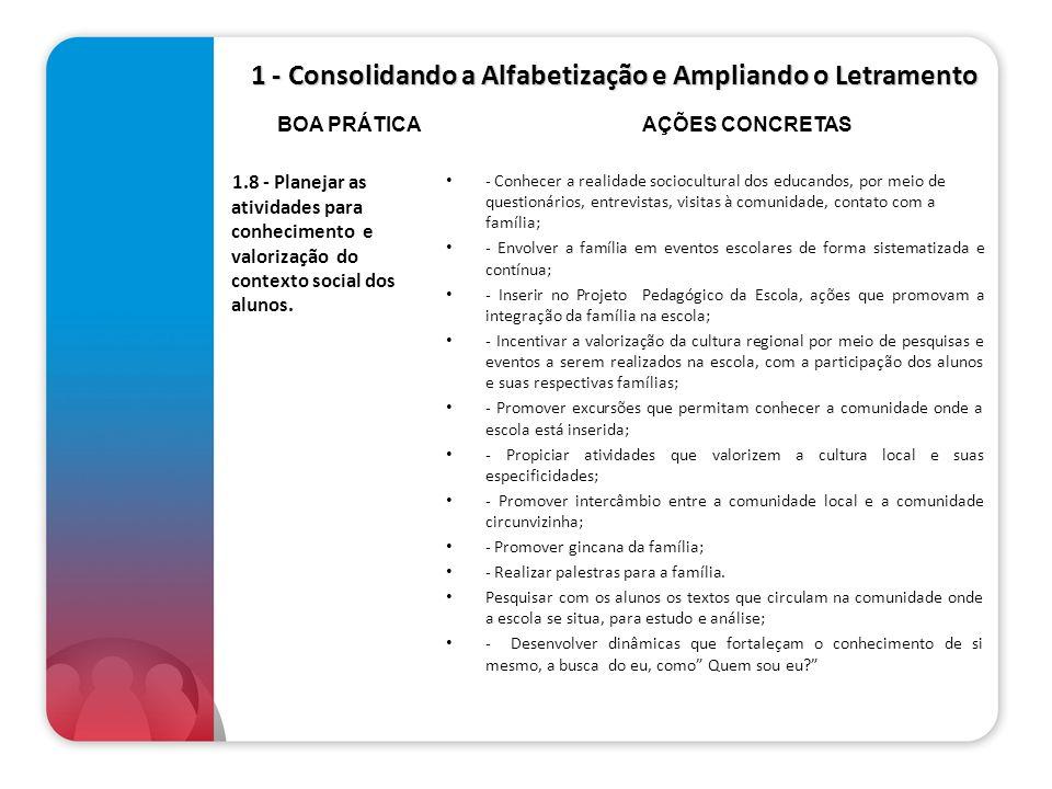 1 - Consolidando a Alfabetização e Ampliando o Letramento 1.8 - Planejar as atividades para conhecimento e valorização do contexto social dos alunos.