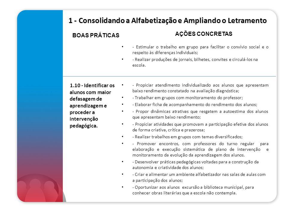 1 - Consolidando a Alfabetização e Ampliando o Letramento - Estimular o trabalho em grupo para facilitar o convívio social e o respeito às diferenças