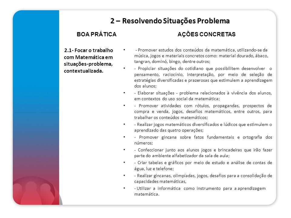 2 – Resolvendo Situações Problema 2.1- Focar o trabalho com Matemática em situações-problema, contextualizada. - Promover estudos dos conteúdos da mat