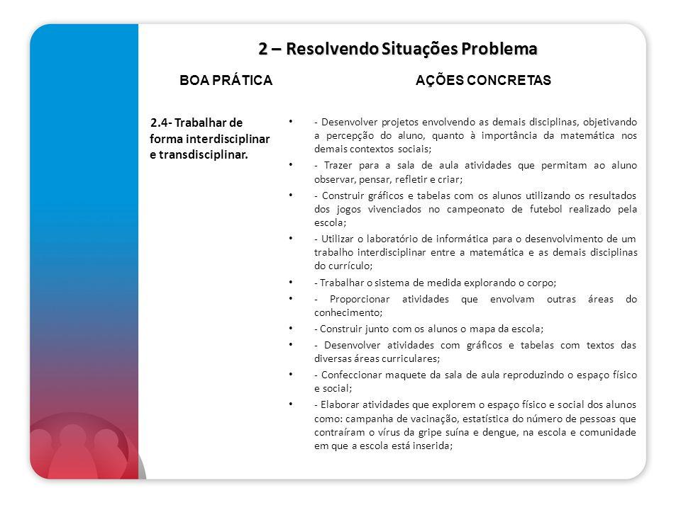 2 – Resolvendo Situações Problema 2.4- Trabalhar de forma interdisciplinar e transdisciplinar. - Desenvolver projetos envolvendo as demais disciplinas