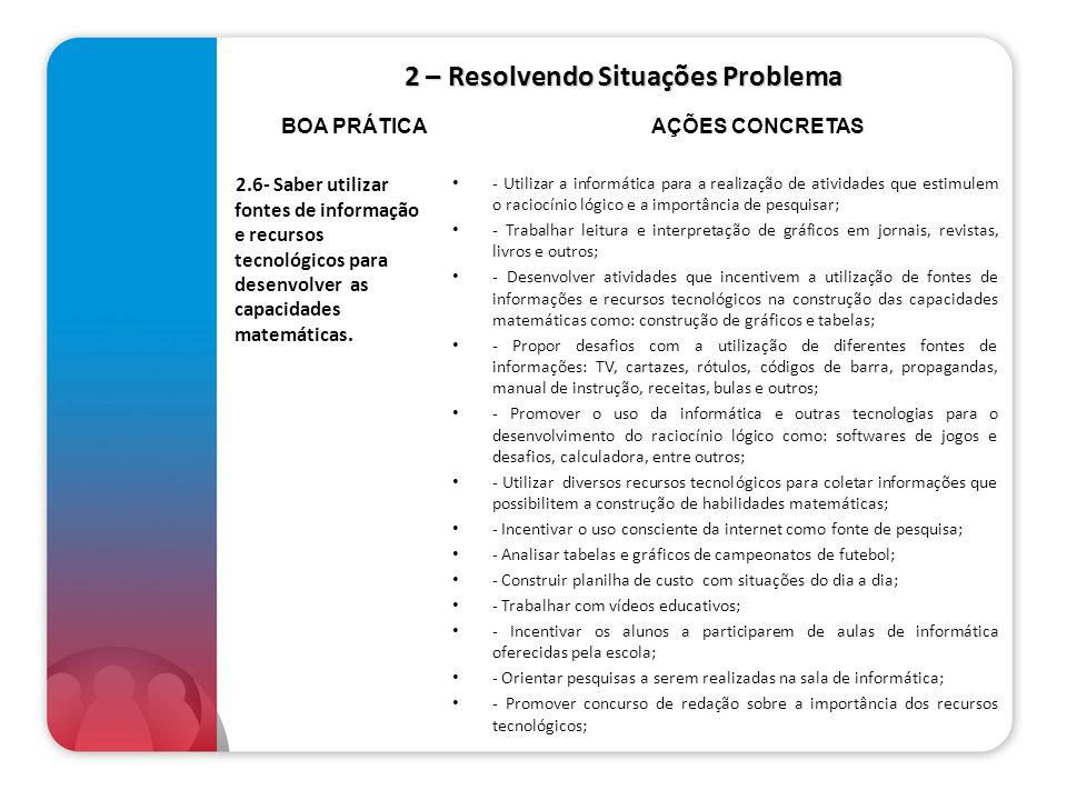 2 – Resolvendo Situações Problema 2.6- Saber utilizar fontes de informação e recursos tecnológicos para desenvolver as capacidades matemáticas. - Util