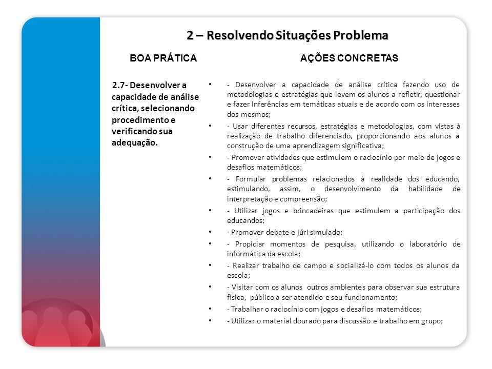 2 – Resolvendo Situações Problema 2.7- Desenvolver a capacidade de análise crítica, selecionando procedimento e verificando sua adequação. - Desenvolv