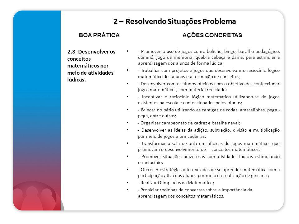 2 – Resolvendo Situações Problema 2.8- Desenvolver os conceitos matemáticos por meio de atividades lúdicas. - Promover o uso de jogos como boliche, bi