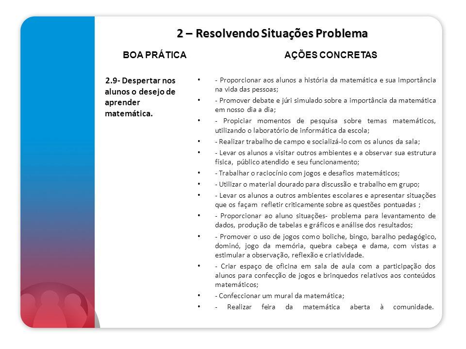 2 – Resolvendo Situações Problema 2.9- Despertar nos alunos o desejo de aprender matemática. - Proporcionar aos alunos a história da matemática e sua