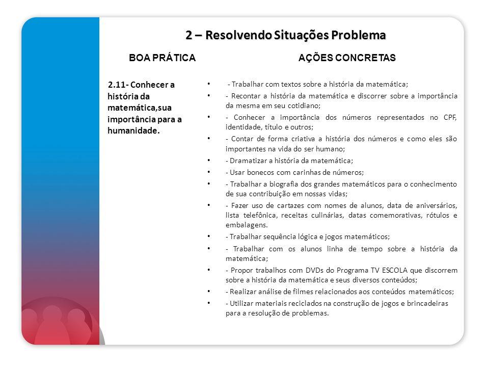 2 – Resolvendo Situações Problema 2.11- Conhecer a história da matemática,sua importância para a humanidade. - Trabalhar com textos sobre a história d