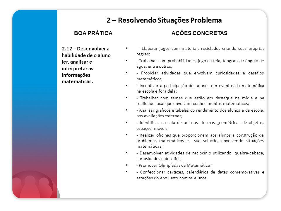 2 – Resolvendo Situações Problema 2.12 – Desenvolver a habilidade de o aluno ler, analisar e interpretar as informações matemáticas. - Elaborar jogos