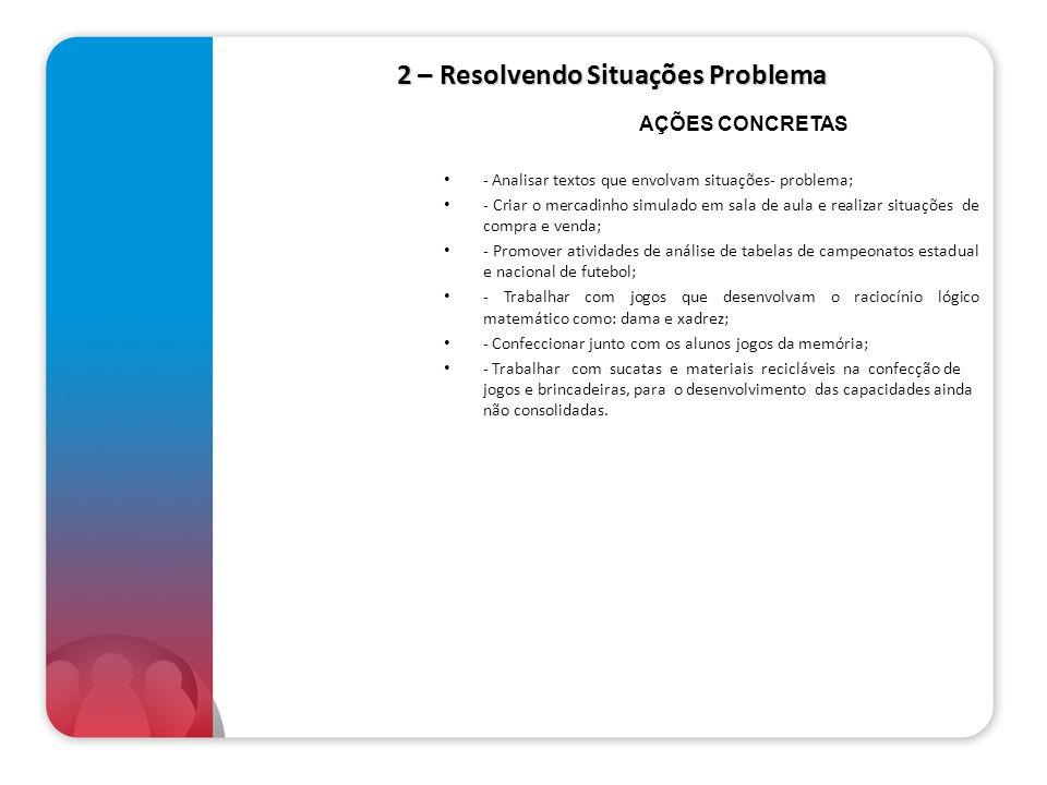 2 – Resolvendo Situações Problema - Analisar textos que envolvam situações- problema; - Criar o mercadinho simulado em sala de aula e realizar situaçõ