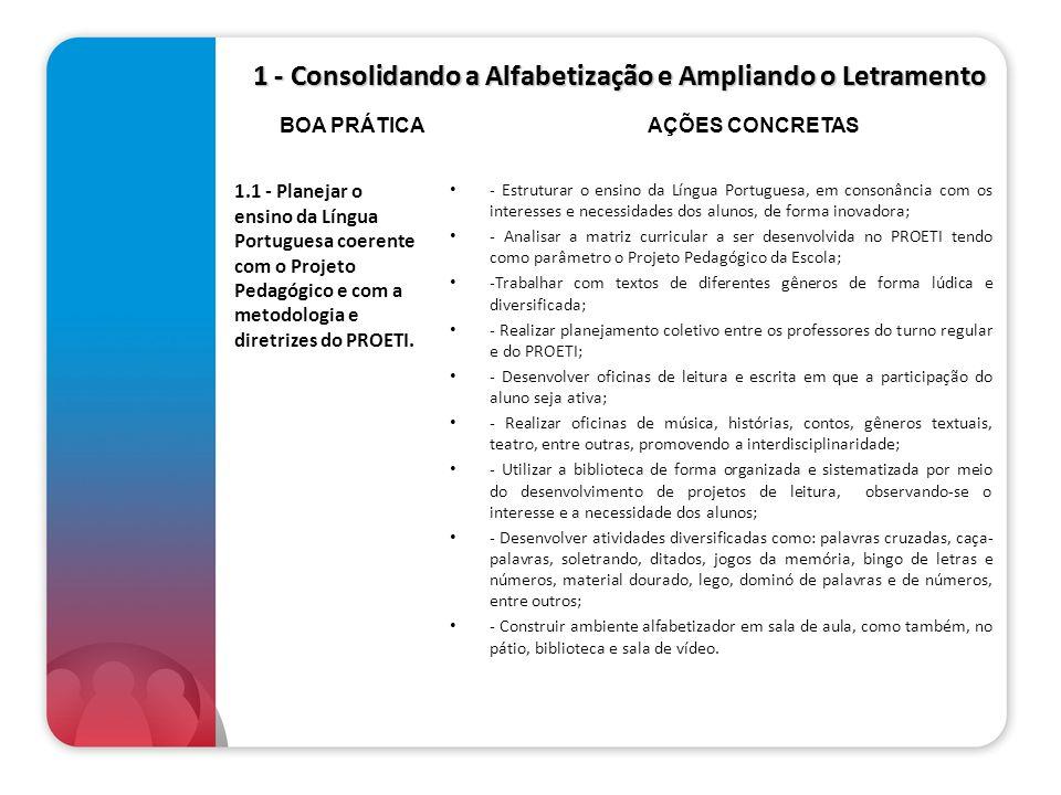 1 - Consolidando a Alfabetização e Ampliando o Letramento 1.1 - Planejar o ensino da Língua Portuguesa coerente com o Projeto Pedagógico e com a metod
