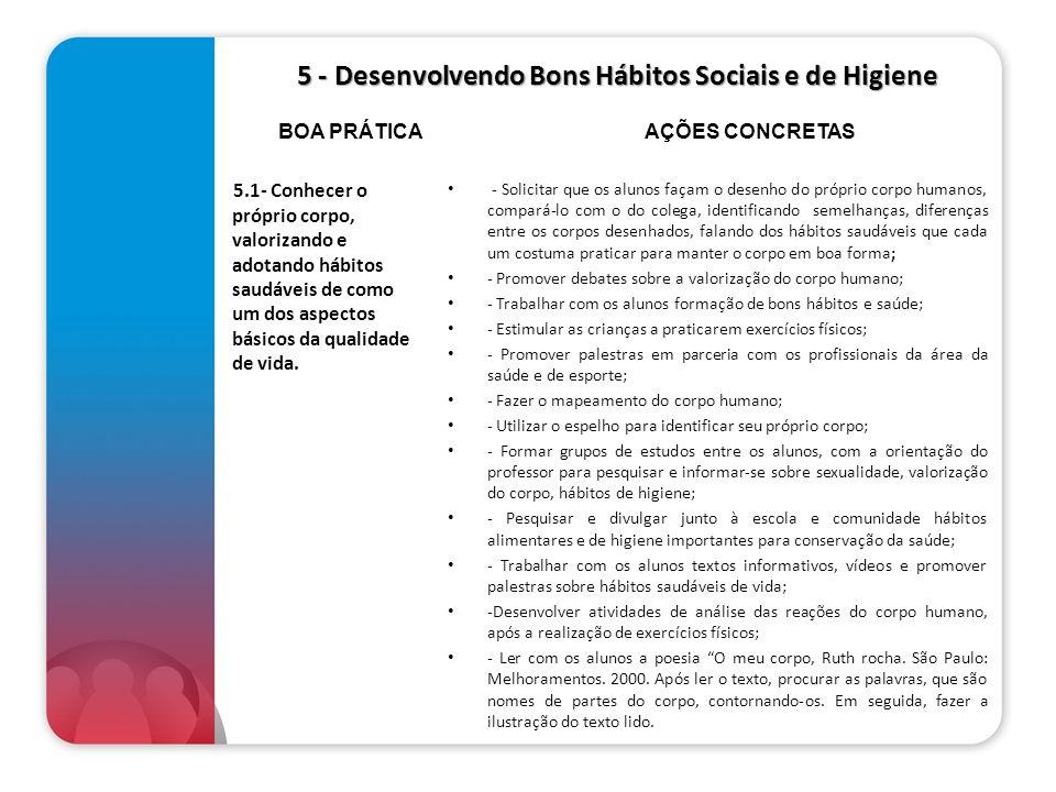 5 - Desenvolvendo Bons Hábitos Sociais e de Higiene 5.1- Conhecer o próprio corpo, valorizando e adotando hábitos saudáveis de como um dos aspectos bá