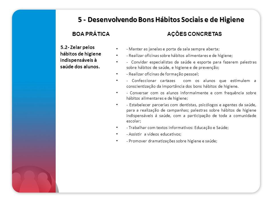 5 - Desenvolvendo Bons Hábitos Sociais e de Higiene 5 - Desenvolvendo Bons Hábitos Sociais e de Higiene 5.2- Zelar pelos hábitos de higiene indispensá