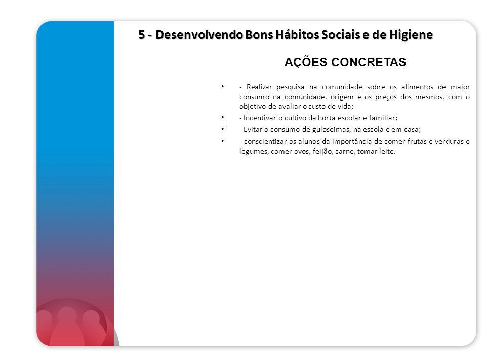5 - Desenvolvendo Bons Hábitos Sociais e de Higiene 5 - Desenvolvendo Bons Hábitos Sociais e de Higiene - Realizar pesquisa na comunidade sobre os ali