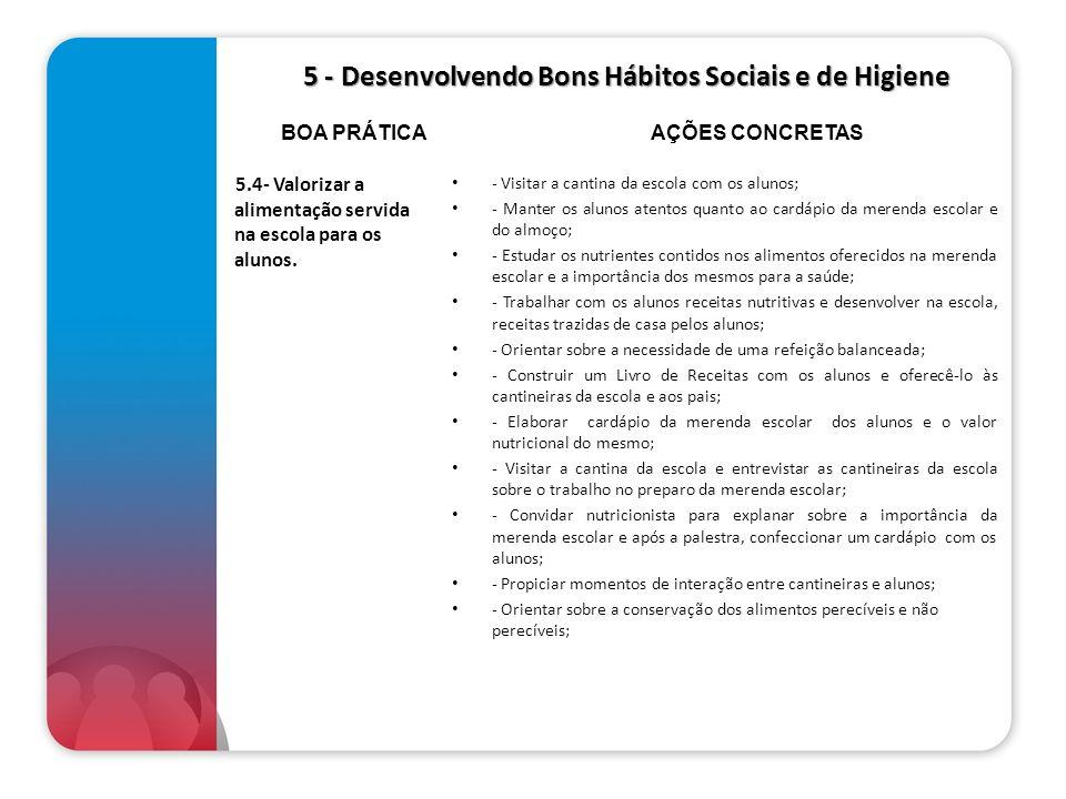 5 - Desenvolvendo Bons Hábitos Sociais e de Higiene 5 - Desenvolvendo Bons Hábitos Sociais e de Higiene 5.4- Valorizar a alimentação servida na escola
