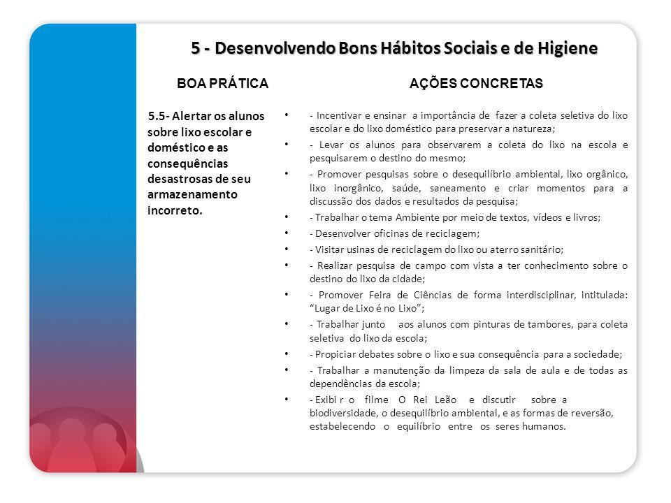 5 - Desenvolvendo Bons Hábitos Sociais e de Higiene 5 - Desenvolvendo Bons Hábitos Sociais e de Higiene 5.5- Alertar os alunos sobre lixo escolar e do
