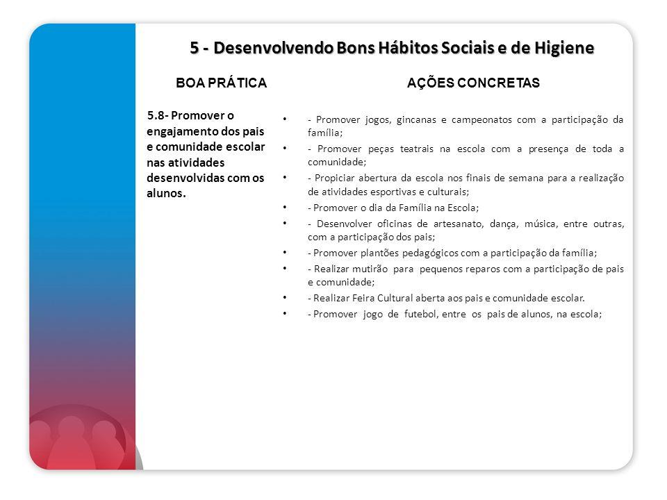 5 - Desenvolvendo Bons Hábitos Sociais e de Higiene 5 - Desenvolvendo Bons Hábitos Sociais e de Higiene 5.8- Promover o engajamento dos pais e comunid