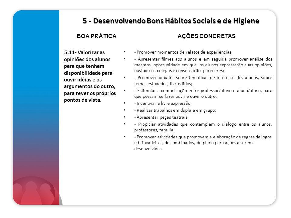 5 - Desenvolvendo Bons Hábitos Sociais e de Higiene 5 - Desenvolvendo Bons Hábitos Sociais e de Higiene 5.11- Valorizar as opiniões dos alunos para qu
